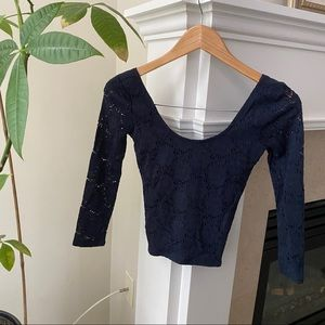 HOLLISTER Navy Lace Longsleeve Fitted Top